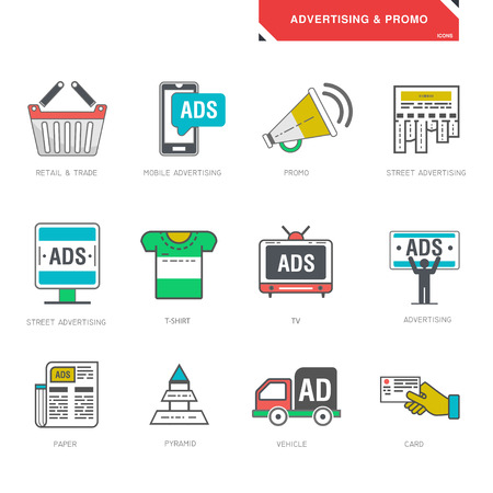 outdoor advertising: Line icons of advertising marketing product promotion vector illustration