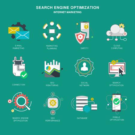 market: Seo internet marketing icons, modern flat design vector illustration