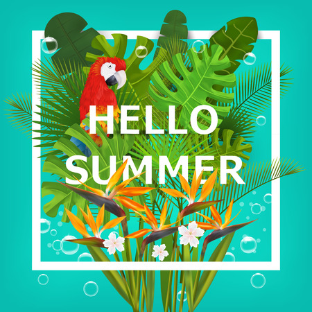 hello: Hello summer background with tropical plants and flowers. For typographical, banner, poster, party invitation. vector illustration
