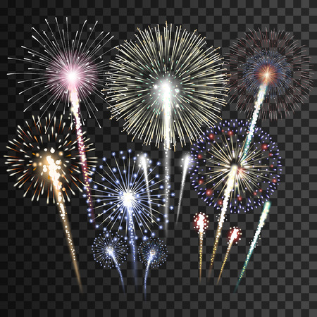 Set of isolated vector fireworks Vectores