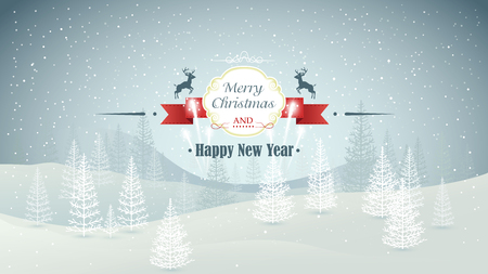 snowfall: Merry Christmas and Happy New Year forest winter landscape with snowfall and fireworks vector illustration
