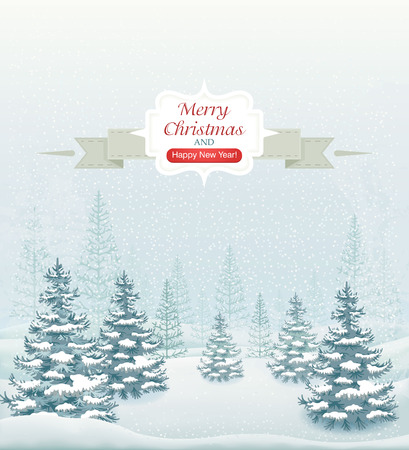 vintage card: Merry Christmas and Happy New Year forest winter landscape with snowfall and spruces vector illustration