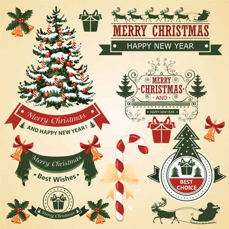 ornaments vector: Christmas set of elements for design vector illustration