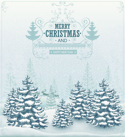 happy holidays: Merry Christmas and Happy New Year forest winter landscape with snowfall and spruces vintage vector illustration Illustration