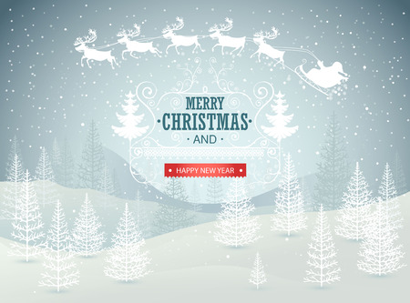 christmas blue: Christmas winter landscape background. Vector illustration.