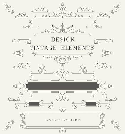 ビンテージ デザイン テンプレート、ボーダー、レトロな要素、フレーム、ベクトル イラストの招待状