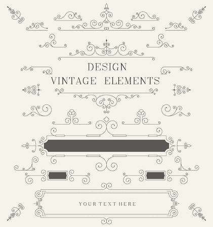 decorative element: Vintage design template, borders, retro elements, Frame, for invitation Vector illustration