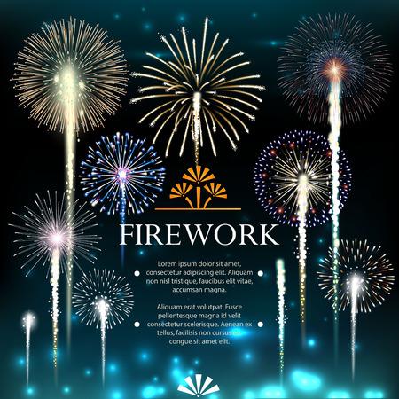 fuegos artificiales: Conjunto de fuegos artificiales, bandera festivo, invitación a una fiesta. ilustración vectorial