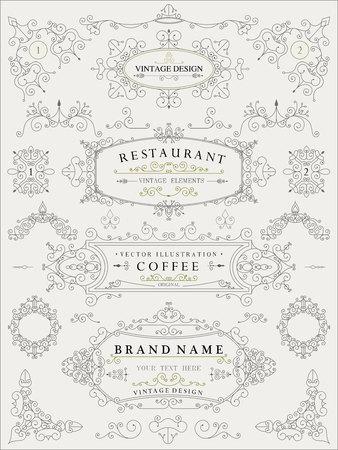 victorian frame: Decorative thin retro elements, Victorian frame, divider, border, vintage vector illustration