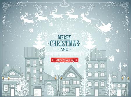 Christmas city landscape, urban winter background, vintage card, snowfall vector illustration Illustration