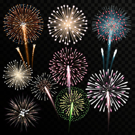 Big set of isolated vector fireworks