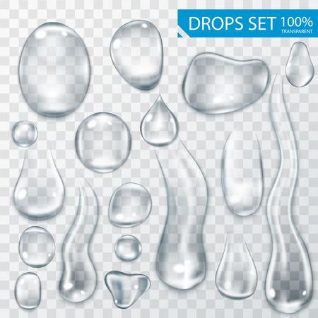 gota: Realistas brillantes gotas de agua y gotas en el fondo transparente de ilustración vectorial Vectores