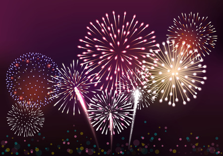 fourth birthday: Realistic fireworks background vector