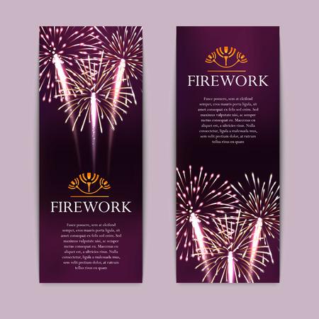 Conjunto de fuegos artificiales, Bandera vertical festivo, ilustración vectorial petardo