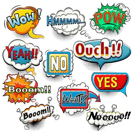 sounds: Bright comic speech bubbles screams, phrases, sounds vector Illustration