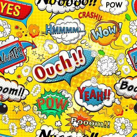 Comic speech bubbles seamless pattern vector Ilustracja