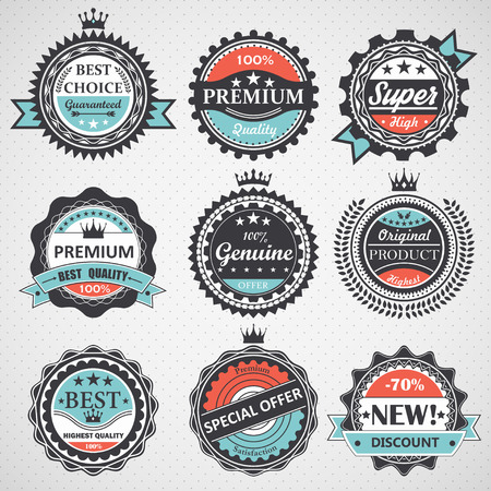 guarantee: Set of premium quality, guaranteed, genuine badges, retro elements vector Illustration