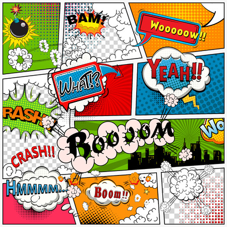 sounds: Comic book page divided by lines with speech bubbles, sounds effect. Retro background mock-up. Comics template. Vector illustration Illustration
