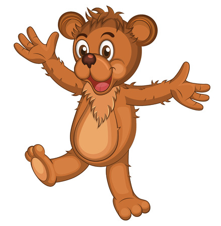 art painting: Cute brown cartoon bear. Isolated Laughing bear raising his arms. Vector illustration Illustration
