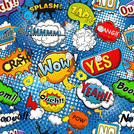 sample: Comic speech bubbles seamless pattern vector Illustration
