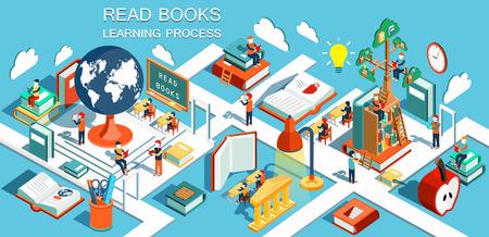 El proceso de la educación, el concepto de libros de aprendizaje y lectura en la biblioteca y en el aula. La educación en línea isométrica ilustración diseño plano
