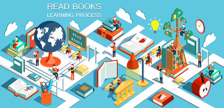 The process of education, the concept of learning and reading books in the library and in the classroom. Online education Isometric flat design illustration Stock Illustratie