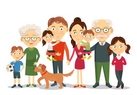 Big and happy family portrait with children, parents, grandparents illustration Illustration