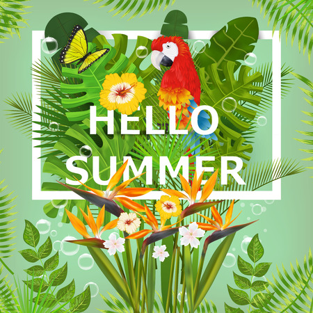 Summer background with tropical plants and flowers. For typographical, banner, poster, party invitation.