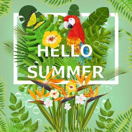 invitacion fiesta: Verano de fondo con plantas y flores tropicales. Para tipográfico, bandera, cartel, invitación del partido.