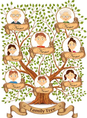 Arbre généalogique avec des portraits de membres de la famille illustration Vecteurs