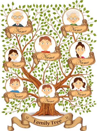 Family tree with portraits of family members illustration