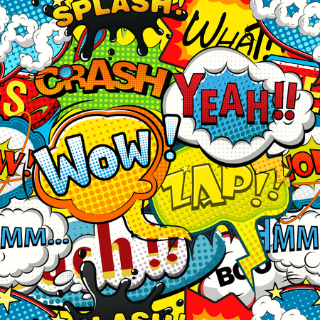 Multicolored comics speech bubbles seamless pattern Vettoriali