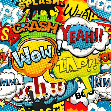 comic strip: Multicolored comics speech bubbles seamless pattern Illustration
