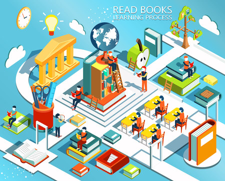 The process of education, the concept of learning and reading books in the library and in the classroom. University studies. Online education Isometric flat design. Vectores