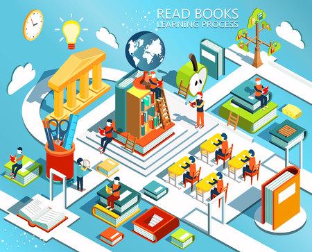 Het proces van het onderwijs, het concept van het leren en het lezen van boeken in de bibliotheek en in de klas. Universitaire studies. Online onderwijs isometrische plat design.