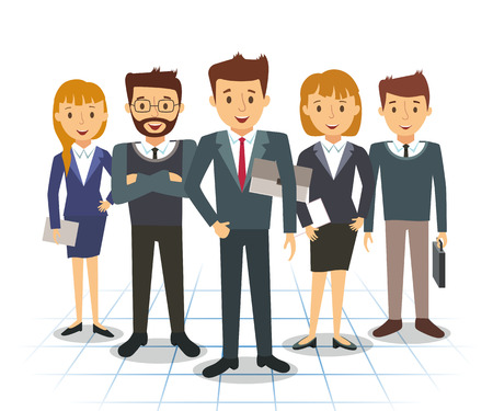 Business team of employees and the boss illustration Vettoriali