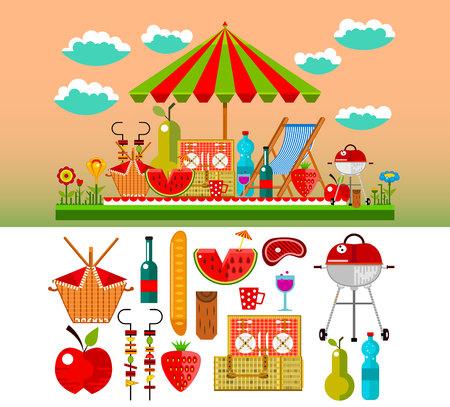 summer picnic: Summer picnic in the meadow illustration Illustration