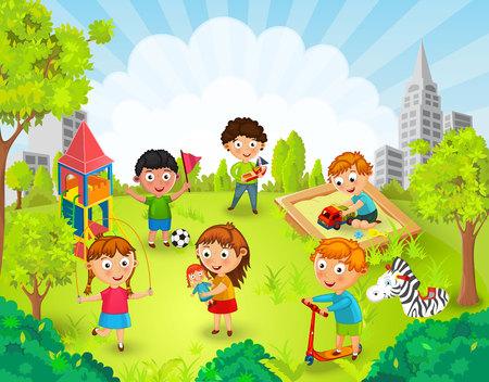 Niños jugando en la ilustración parque Ilustración de vector