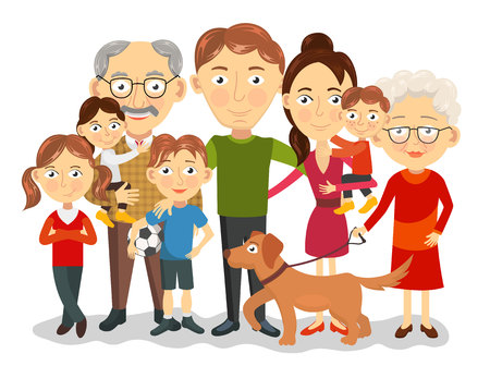 family with dog: Big and happy family portrait with children, parents, grandparents illustration Illustration