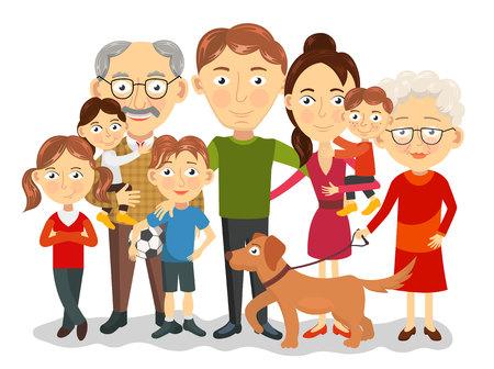 perro familia: retrato grande y feliz familia con hijos, padres, abuelos ilustración Vectores