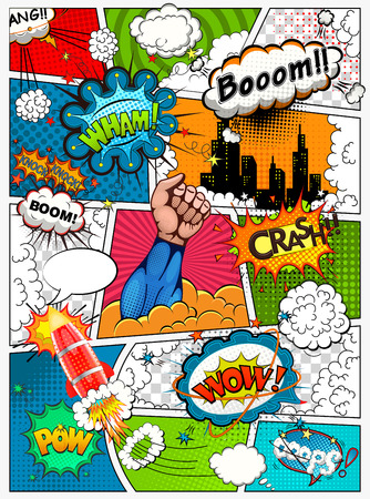 sounds: Comic book page divided by lines with speech bubbles, rocket, hero and sounds effect. Retro background mock-up. Comics template. illustration
