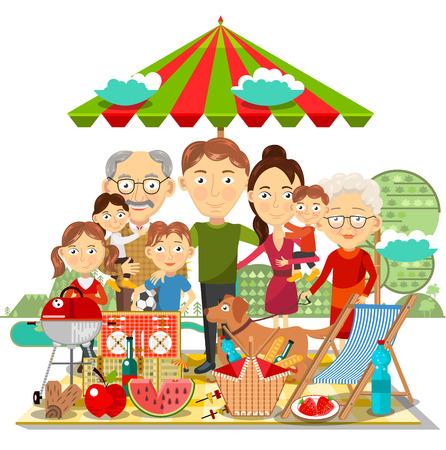 ピクニックの家族  イラスト・ベクター素材