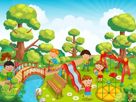 niños jugando: Los niños que juegan con los juguetes en el patio de recreo en el parque.