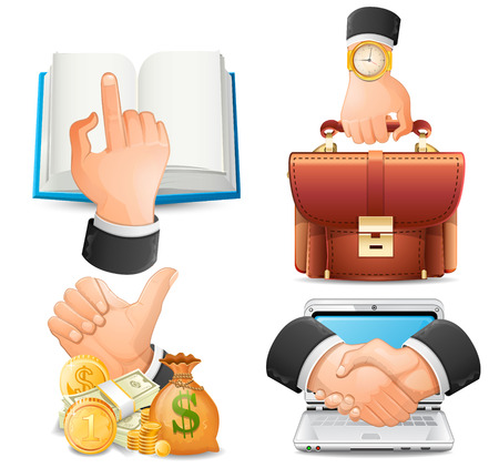 achieve goal: Achieve the goal in business, handshake icons