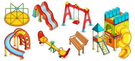 ricreazione: Una serie di illustrazioni del parco giochi. Attrezzature per il gioco. Playhouse. Scivoli, altalene e rotonda.
