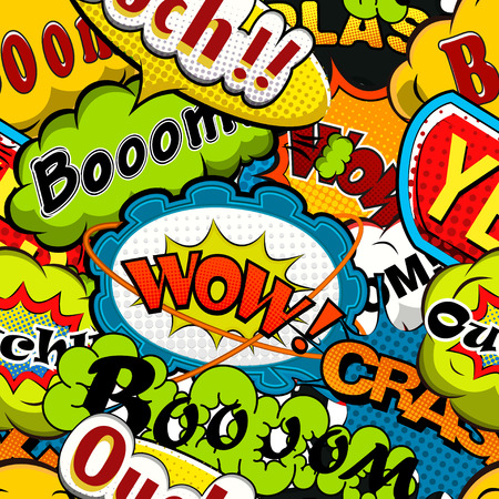 Bright and multicolored Comics Speech Bubbles Seamless Pattern