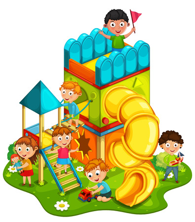 baby playing toy: Kids playing at the park illustration