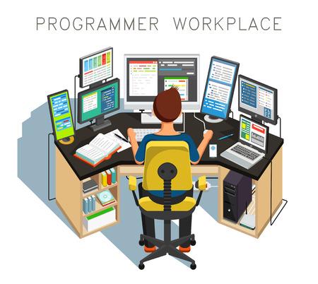 De programmeur schrijft code.