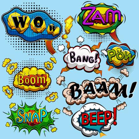 Set van komische tekstballonnen. vector illustratie