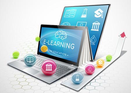 教育のプロセス。電子ブックとしてのノート パソコン。オンライン教育。学習のコンセプトです。教育を受けます。ベクトルの図。
